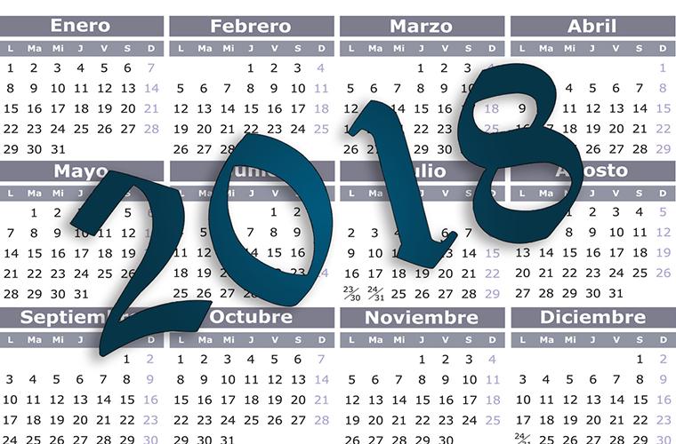 Calendario 2018: feriados no laborables y laborables
