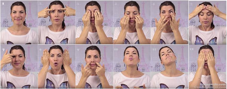 Automasajes faciales para atenuar arrugas y líneas de expresión