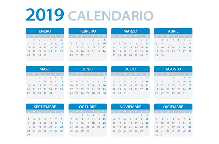 Calendario Agosto 2019 Con Feriados.Calendario 2019 Feriados Nacionales Y Otras Fechas De